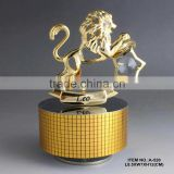 Hot Sale 24K gold plated Zodiac Sign Leo Music Box with crystals from swarovski for birthday gift