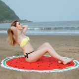 Microfiber round beach towel watermelon can make with fringe