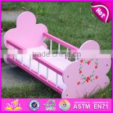 Natural handmade wooden baby doll bed for sale WJ278012A