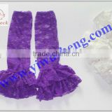 lace rose pattern lace leg warmer girl's fashion baby lace ruffle purple leg warmers