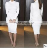 MGOO Alibaba Wholesale Price Hot Selling White Long Sleeve Dress Fashion Bodycon Dress Black High Neck Party Dress 00968