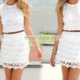 hot sale white lace dress vest mini women dress with belt fashion lady dress women