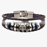 XP-LB-2178 Metal skull Wrap Wholesale Fashion Leather Bracelet with skull accessories