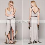 Beautiful lady fashion dress women clothing silk chiffon draped gown with earth-toned crepe gown