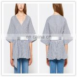 Hot sale sexy V Neck design 1/2 Sleeve Tops kimono style Cotton Blue Striped Women Casual blouse With Self-tie waist belt