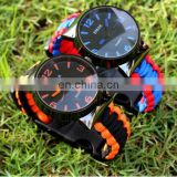 Outdoor Paracord Fire Starter Compass Survival Bracelet Tactical Emergency Survival Watch