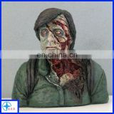 Lifelike bloody resin zombie action figure bust statue
