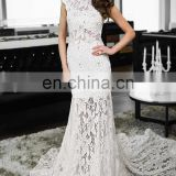 Mermaid white lace bridal gown