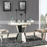 Modern dining table stainless steel dining table designed circular marble countertops 4 seats