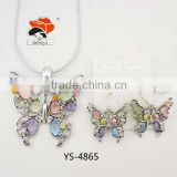 distinctive colorful rhinestone resin bridal animal butterfly jewelry set