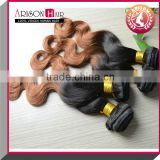 No sheeding ,no tangle ,wholesale price ombre human hair extension cheap full and thick indian remy virgin human hair weft