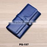 Women's Genuine Leather Long Wallet Clutch Purse Lady Handbag Money Bag Blue