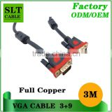 Factory outlet new style vga cable 15pin 3+9 3m vga cable full copper extension vga cable