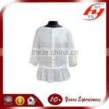 New Spring Summer Autumn woman ruffle long sleeve white hemp blouse and shirts for ladies OEM