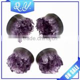 2016 New Design Hot Product Purple Crystal Flesh Tunnel Piercing Jewelry