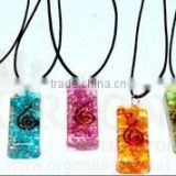 Long Rectangle Onyx Orgone Energy Chakra Set (With Cord) : Wholesale Rectangle Orgonite Pendant Sets