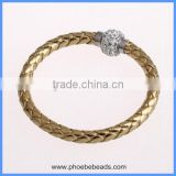 Wholesale Clear Crystal Rhinestones Pave Magnetic Clasp Gold PU Leather Wrap Bracelets For Women PLB-FB002T
