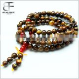 Tibetan Buddhist 108 Beaded Bracelet Natural Tiger's Eye Prayer Beads Wrist Meditation Mala Bracelet
