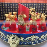 Hot Sale Customized Promotion Fashion Twelve Animal Zodiac Red Color Ceramic Wine Cup With Metal Base