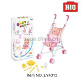 Popular kid pretend baby walking trolley toy stroller toy with doll