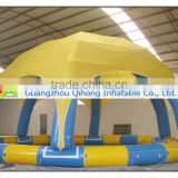 PVC tarpaulin inflatable pool with sunshade, outdoor swimming pool tent, pool tent covers for water toy
