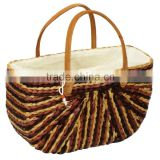 High quality best selling brown water hyancinth bags handbag with leather handle from vietnam