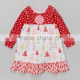 High Quality Decoration Flower Ripple Printing Wear Kid Christmas Clothes Toddler Fashion Dress Z-GD80724-24
