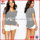 2016 Women Custom T Shirt Striped T Shirt Wholesale China Private Labeling Manufacturers