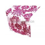 Beautiful damask table runner flocking table runner taffeta runner