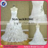 ivory mermaid wedding dress organza ruffle bridal gowns wedding dress 2014