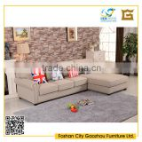 leisure style comfortable living room sofa furniture nordic wooden L-shaped sofa/three seater with rivet