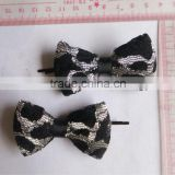 fashion leopard printed lace bow bobby pins