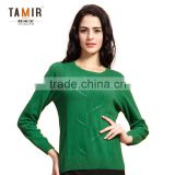 Pure Cashmere Green Female Round Neck Long Sleeve Pullover Sweater, Women Cable Knit Textured Cashmere Sweater