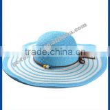 hot new products for 2014 Spring and summer Concentric stripes beaded big brimmed lady hate para straw hat and cap custom logo
