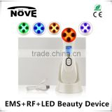 2016 EMS+RF+LED therapy good seller radio frequency skin health device for women use facial toner machine with heat energy