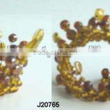 Glass bead weaving napkin ring crown sytle in amber colour available in other colours
