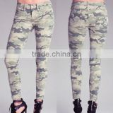 gorgeous style ladies top quality mid waist camouflage jeans 5 pocket design made in China