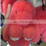 18 cm rabbit fur colors Genuine rabbit fur,Plush Material and Carabiner Keychain Type rex rabbit fur keychains