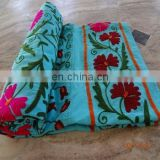 Uzbek Bed Sheet Indian Cotton Embroidery Bed cover suzani Bedspread Pillow Cover