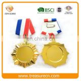 25mm Inserted Blank Gold Alloy Award Medal With Ribbon Tape