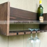 Custom vintage decorative wooden wall mounted wine bottle holder, wood wine glass holding