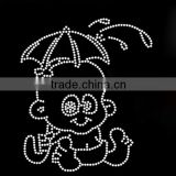 Cute Cartoon Baby Rhinestone Transfer Motifs with clear umbrella For T-shirt Of Boys