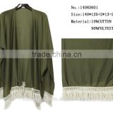 factory wholesale army green color turkish pashmina shawl polyester wrap poncho