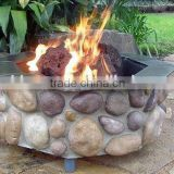 Octagona River Rock Stone Outdoor Gas Fire Pit