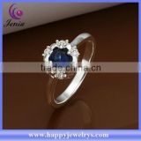 Elegant blue zircon stone ring 925 silver plated diamond engagement ring (CR331)