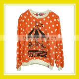 Products Bros Baby Rinne Baby Lion Baby Schnauzer Playing Carousel in Bros Park Women Printed Long Sleeve Orange White Sweater