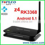 TOPLEO Z4 Android 5.1 Wifi and Bluetooth Kodi and 4K RK3368 Octa Core android rk3368 tv box