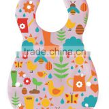 PEVA Polyester Baby Bibs Fancy Cute Safe Eco-friendly Anti-bacterial Reusable Waterproof Full Color Pringting Feeding Burp