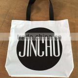 New printed canvas bag with black handle