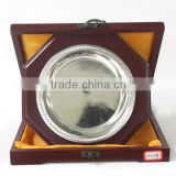 WOOD MDF ROUND TROPHY WINE RED COLOR WITH WOOD BOX